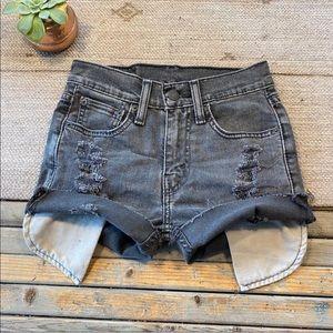Levi's black stretch jean shorts waist 25/ size 0